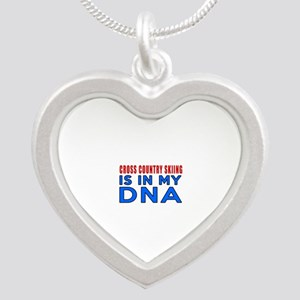 Cross Country Skiing Is In M Silver Heart Necklace